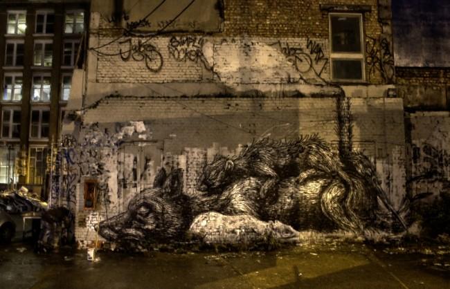 Roa street art in London