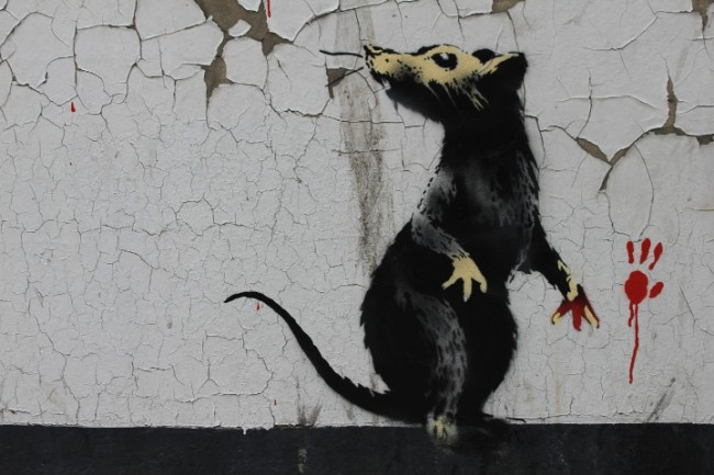 Banksy street art london 1 650x433 New Banksy street art on Clipstone Street, Fitzrovia