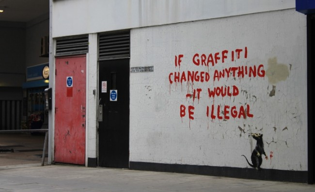 Banksy street art london 5 650x397 New Banksy street art on Clipstone Street, Fitzrovia