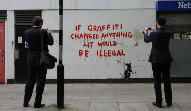 Banksy street art london 7 650x378 New Banksy street art on Clipstone Street, Fitzrovia