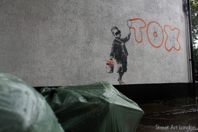 Banksy Tox street art on Jeffreys Street Camden