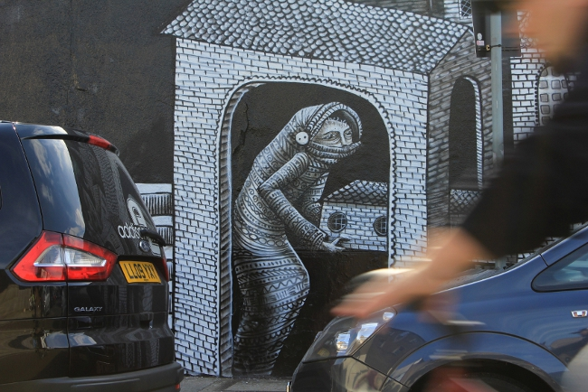 Phlegm street art in West London