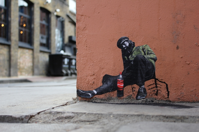 Street artist Pablo Delgado in London