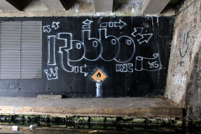 Banksy King Robbo Cartrain at Regents Canal, Camden, London