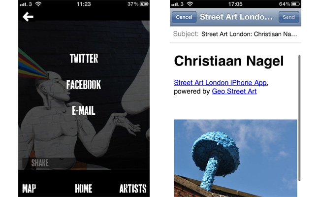 Street Art London iPhone App Share