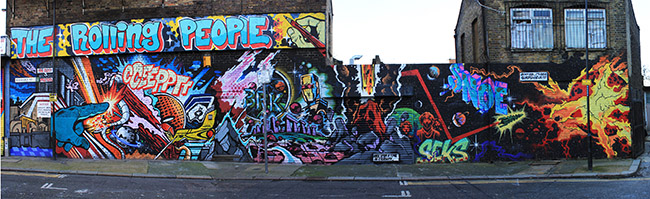 The Rolling People graffiti in East London