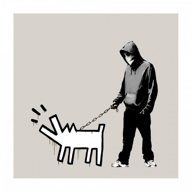Banksy Choose Your Weapon Warm Grey